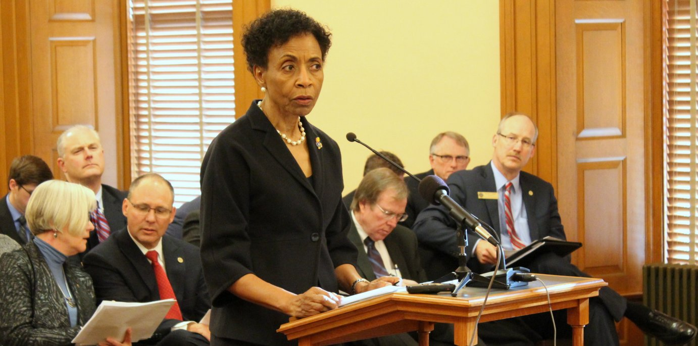 Chancellor Gray-Little speaking to lawmakers. (Photo by Stephen Koranda)