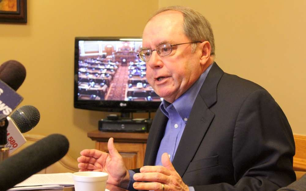 Senator Anthony Hensley speaking to the media last month. (Photo by Stephen Koranda)