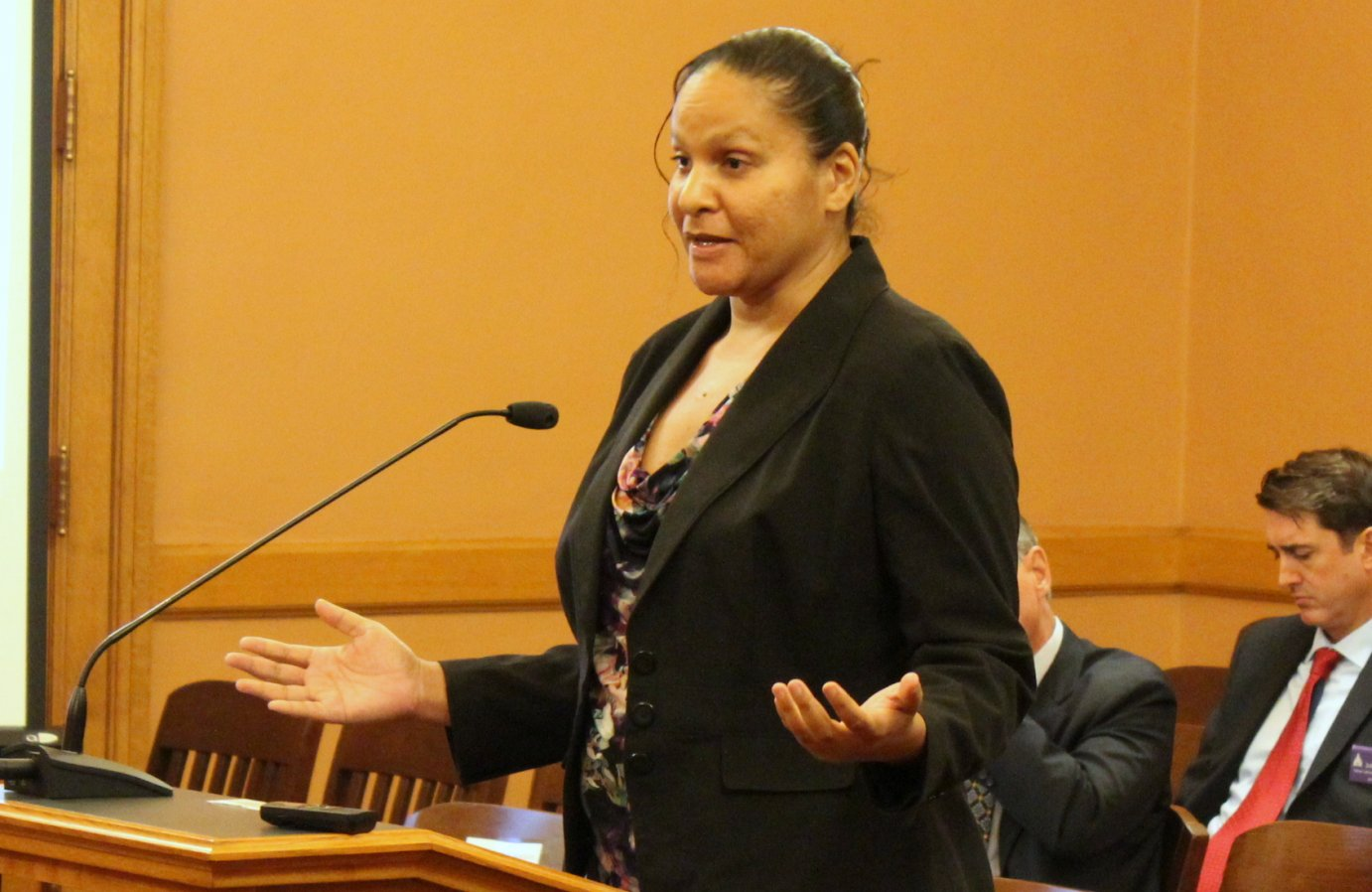 Claudette Humphrey speaking to the committee Wednesday. (Photo by Stephen Koranda)