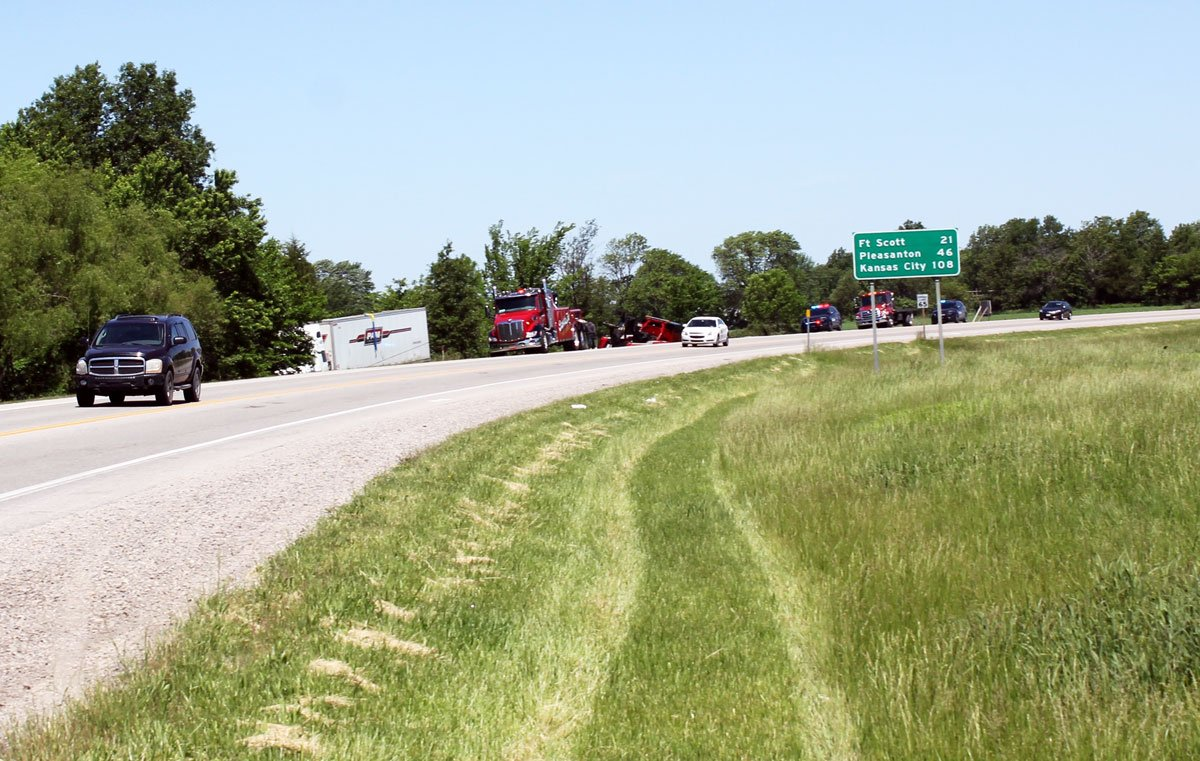 An accident sent a semi into a ditch along U.S. Highway 69, north of Pittsburg, in May 2016. (Photo by Andy Marso, KHI News Service)
