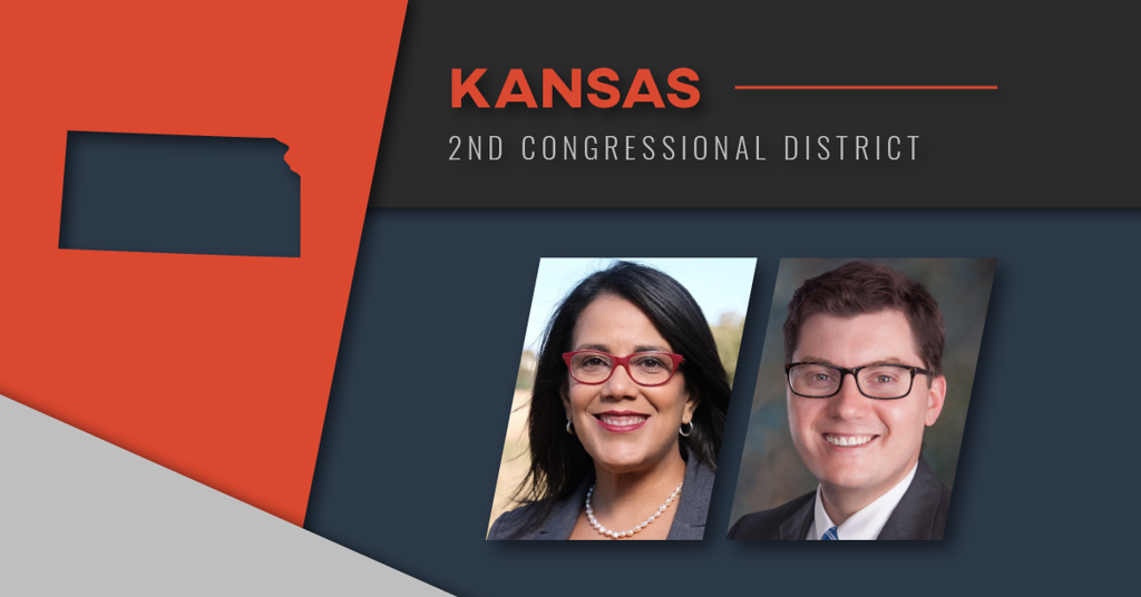 Democrat Michelle De La Isla and Republican state Treasurer Jake LaTurner (Image by Crysta Henthorne for the Kansas News Service)