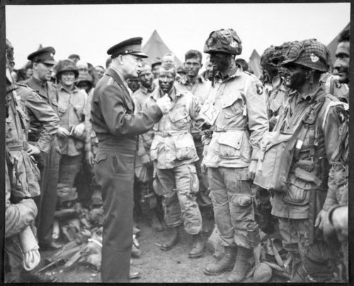 "General Dwight ""Ike"" Eisenhower speaks to American Airborne troops prior to the Normandy invasion of World War Two."