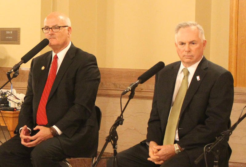 House Minority Leader Jim Ward, left, and House Majority Leader Don Hineman discussed Medicaid expansion during an interview in Topeka. (Photo: Susie Fagan, Kansas News Service)