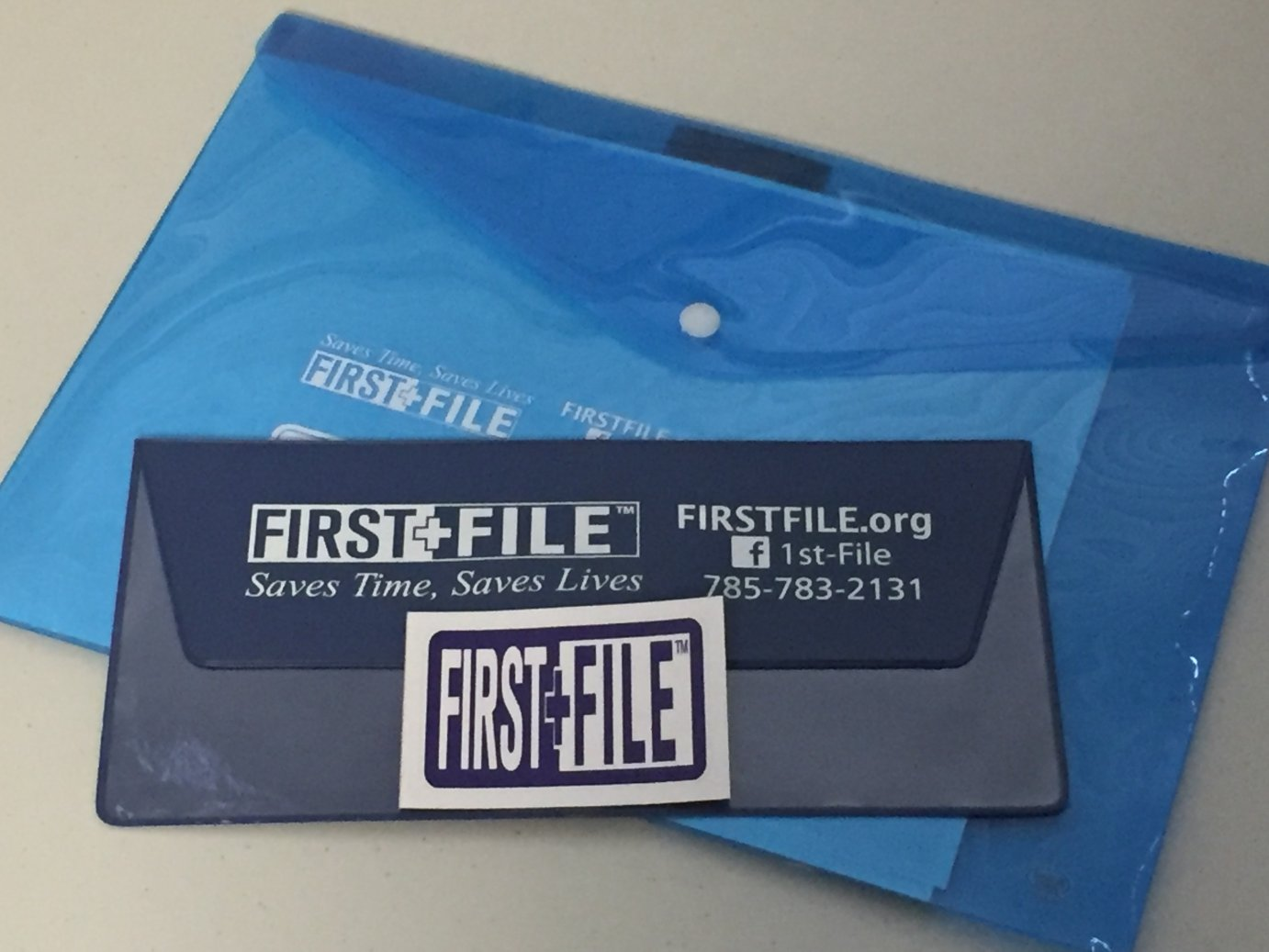First File, a blue folder for your home and car containing important medical information for use by first responders. (Photo by J. Schafer)