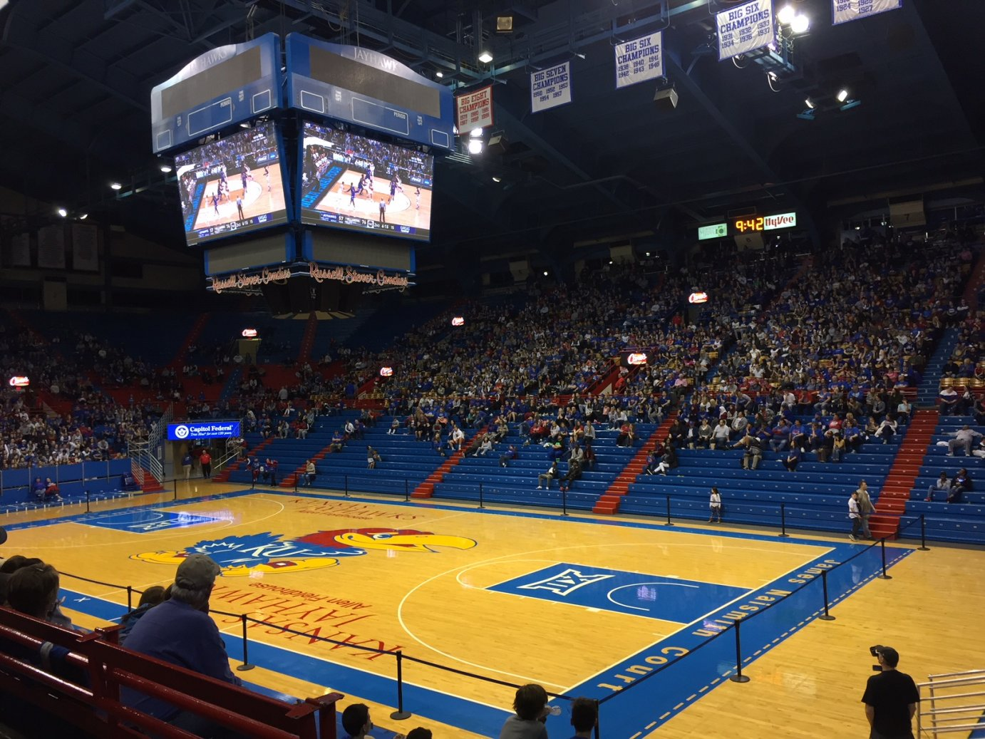 Fans in Allen Fieldhouse for the KU game. (Photo by Stephen Koranda)