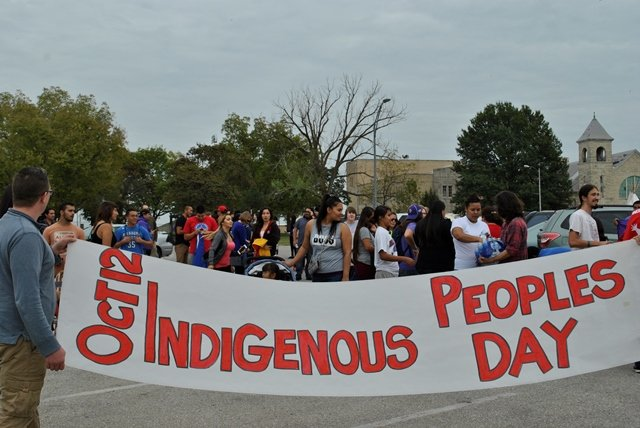 A photo from the Indigenous People's Day Proclamation Walk from October, 2015 (Photo credit: Rustie Anglin for The Indian Leader newspaper, Haskell Indian Nations University)