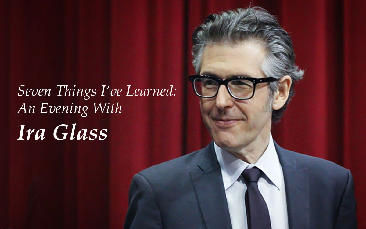 """Public radio host Ira Glass speaks at the Lied Center in Lawrence Saturday night. His multimedia presentation is called """"Seven Things I've Learned."""""""