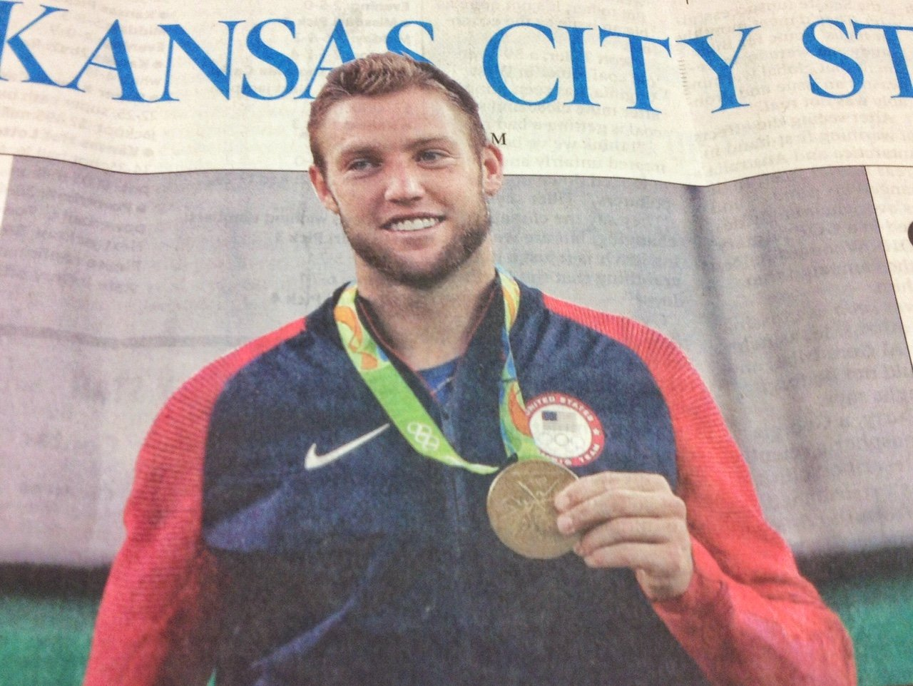 Olympic gold medalist Jack Sock, of Overland Park, appears on the front page of Monday's Kansas City Star. (Photo by J. Schafer)