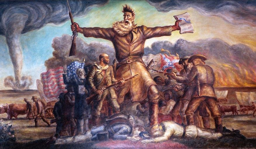 """Kansas Statehouse mural of abolitionist John Brown, foreshadowing the American Civil War.  Painted by native Kansan John Steuart Curry, this work is titled, """"Tragic Prelude."""""""