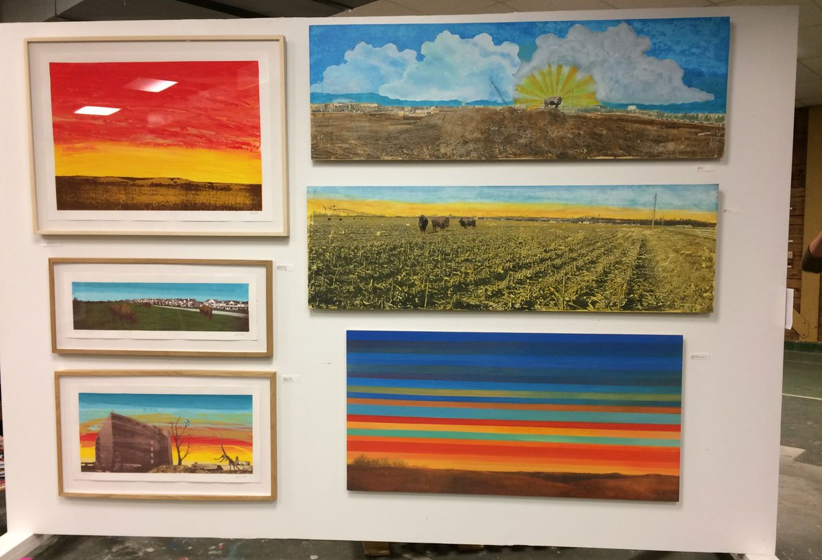 Works by artist Justin Marable, on display at Art Emergency in Lawrence. (Photo by Austin Fitts)
