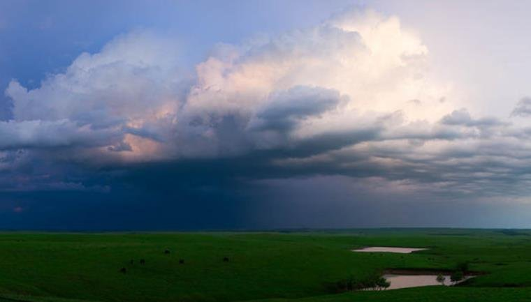 A thunderstorm rolls through the Flint Hills in central Kansas. (Photo Credit: Brian Grimmett)