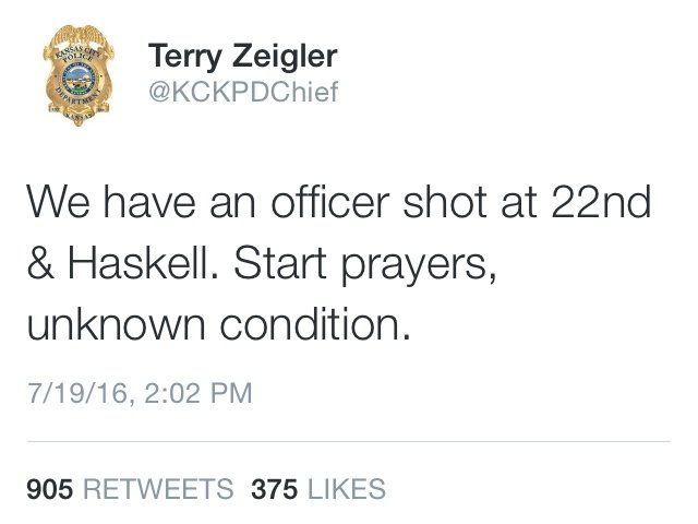 Tweet from the Kansas City, Kansas Police Department's Chief of Police Tuesday afternoon.
