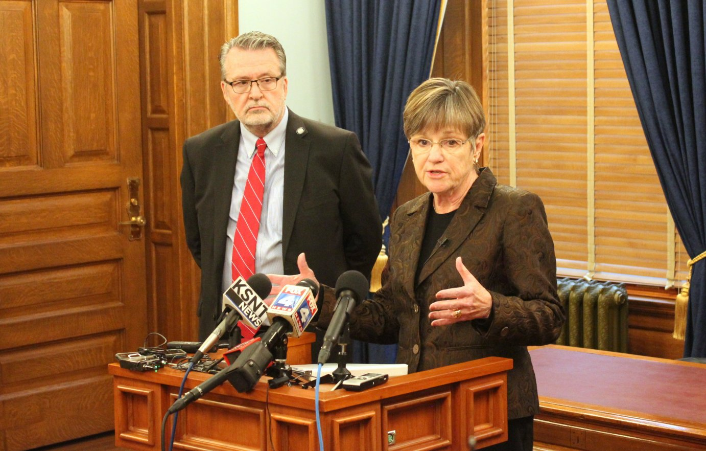Governor-elect Laura Kelly and her running mate, Lieutenant Governor-elect Lynn Rogers. (Photo by Stephen Koranda)