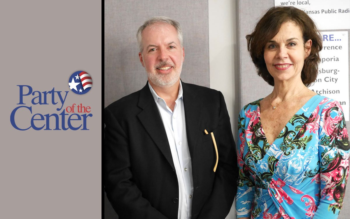Party of the Center logo; photo of Jim Jonas and Jackie Salit
