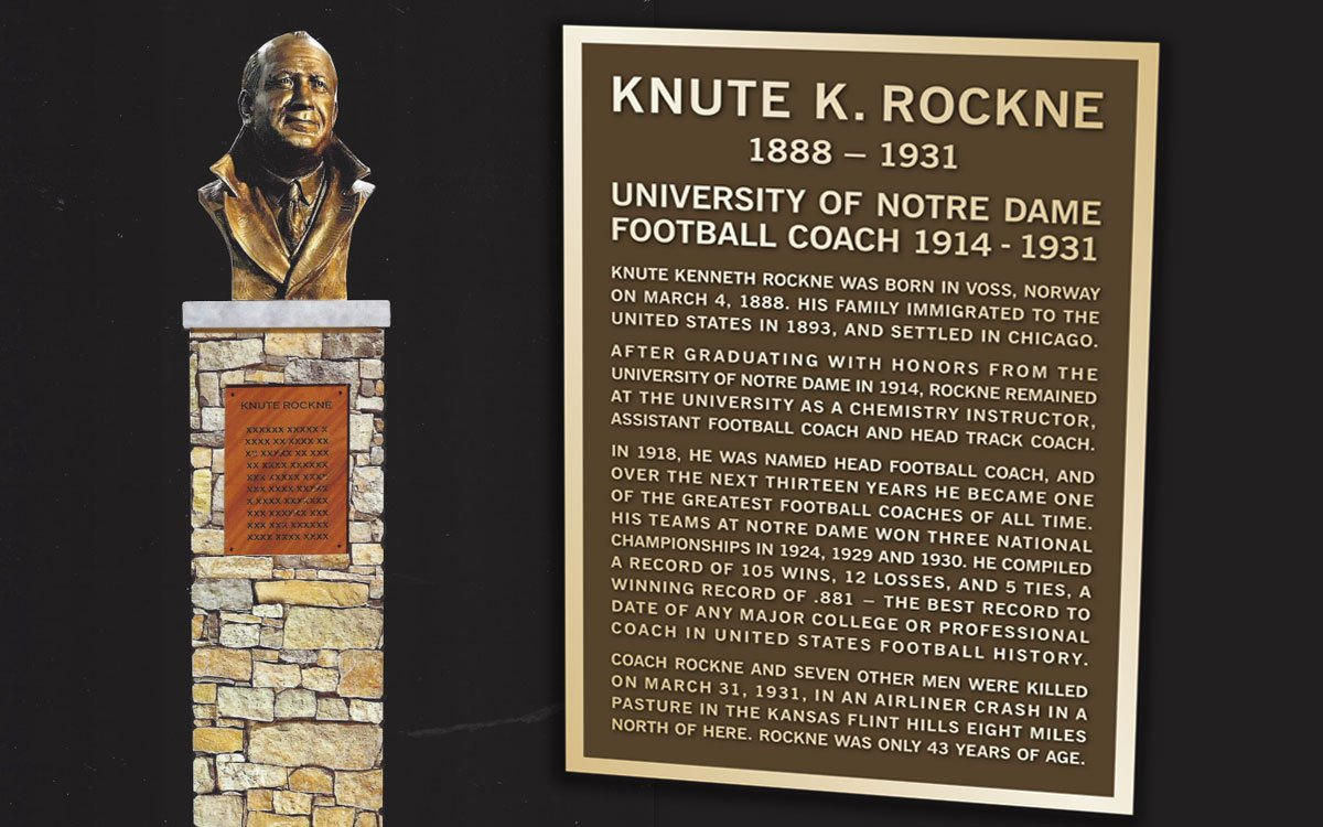 This new Knute Rockne memorial bust will be dedicated Friday at Matfield Green service station.