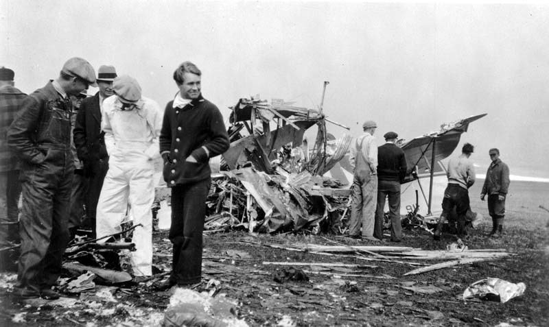 Photograph of the airplane crash that killed Knute Rockne, famous Notre Dame football coach. The crash happened southeast of Bazaar, Chase County, Kansas, on March 31, 1931.  (Photo from the Kansas Historical Society)