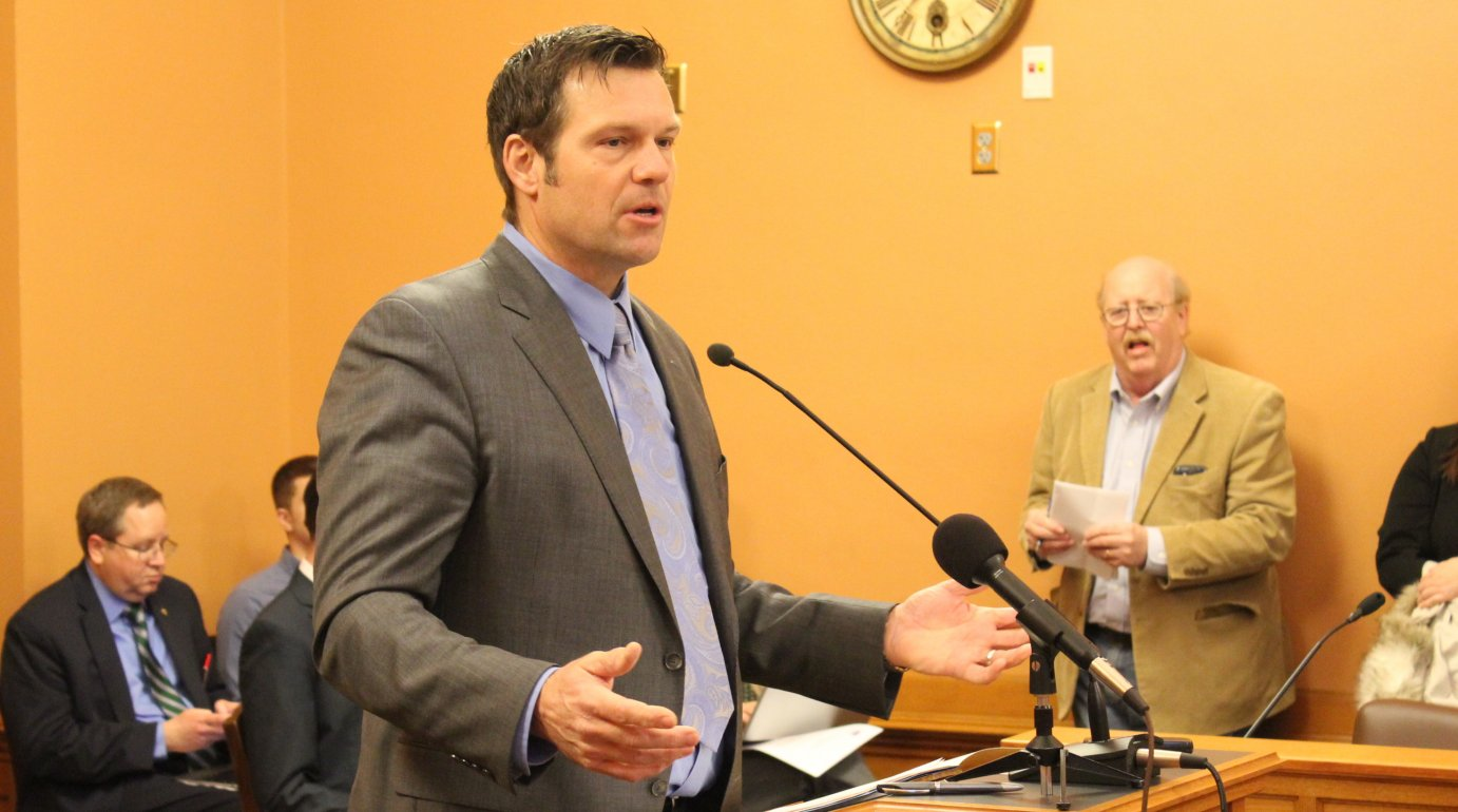Secretary of State Kris Kobach speaking at the Statehouse earlier this year. (Photo by Stephen Koranda)