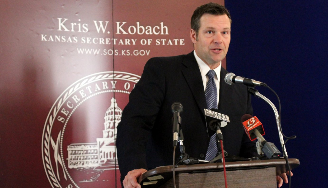 Secretary of State Kris Kobach speaking to reporters this month. (Photo by Stephen Koranda)