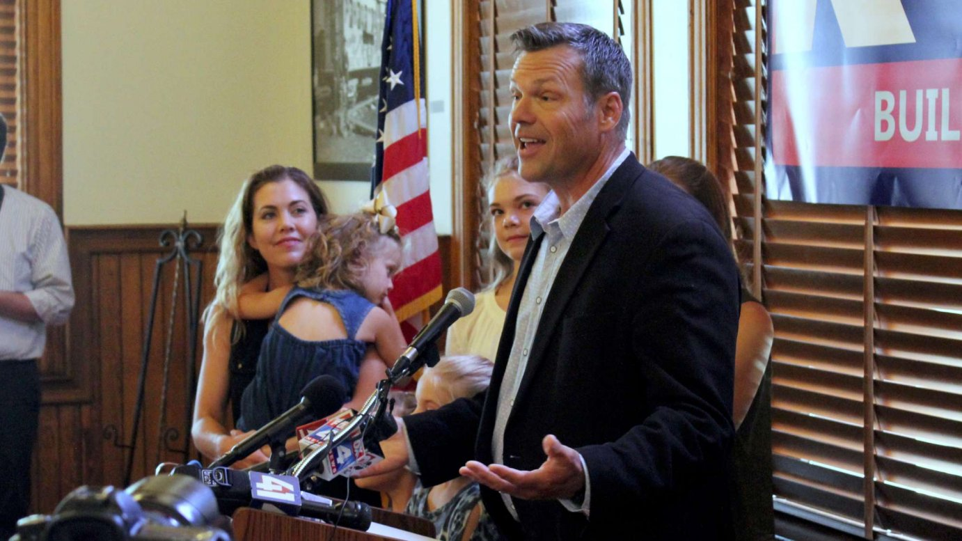 Kobach announced his run Monday in Leavenworth. (Photo by Stephen Koranda)