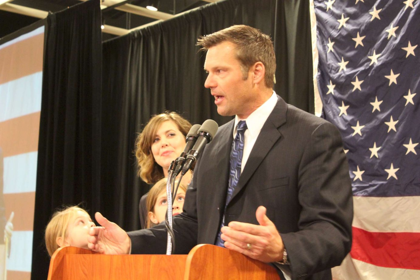 Kobach speaking on election night in 2014. (Photo by Stephen Koranda)