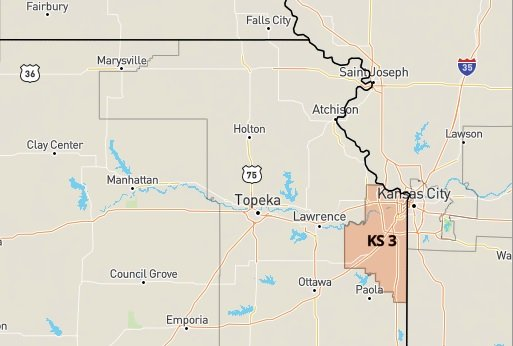 Kansas's 3rd Congressional District is highlighted on this map of the region (via govtrack.us)