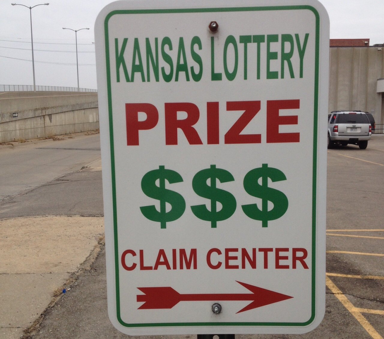 Sign posted near the Kansas Lottery Claim Center in Topeka (Photo by J. Schafer)