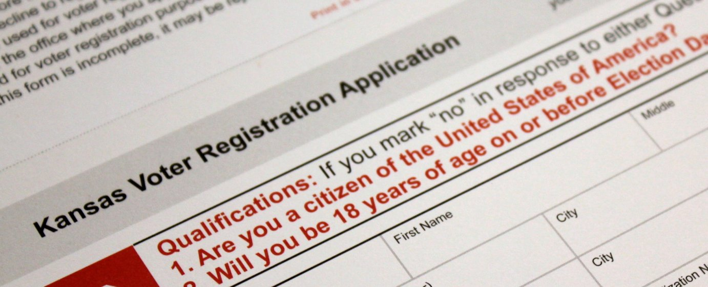 The Kansas voter registration form. (Photo by Stephen Koranda)
