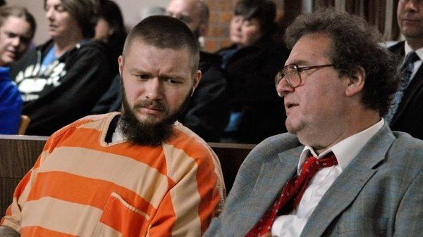 Kyle Flack and his court-appointed attorney, Ronald Evans (Photo credit: AP Photo/The Ottawa Herald, Abby Eckel, Pool)