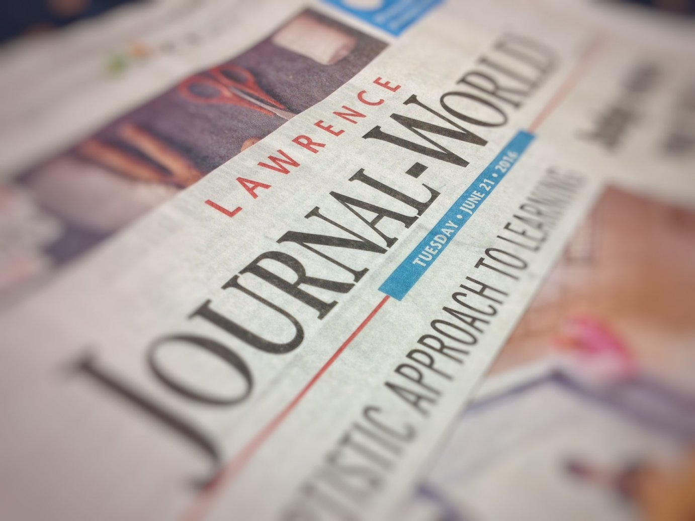 Copy of the Lawrence Journal-World. Later this year, the locally-owned paper will have new out-of-state owners. (Photo by J. Schafer)