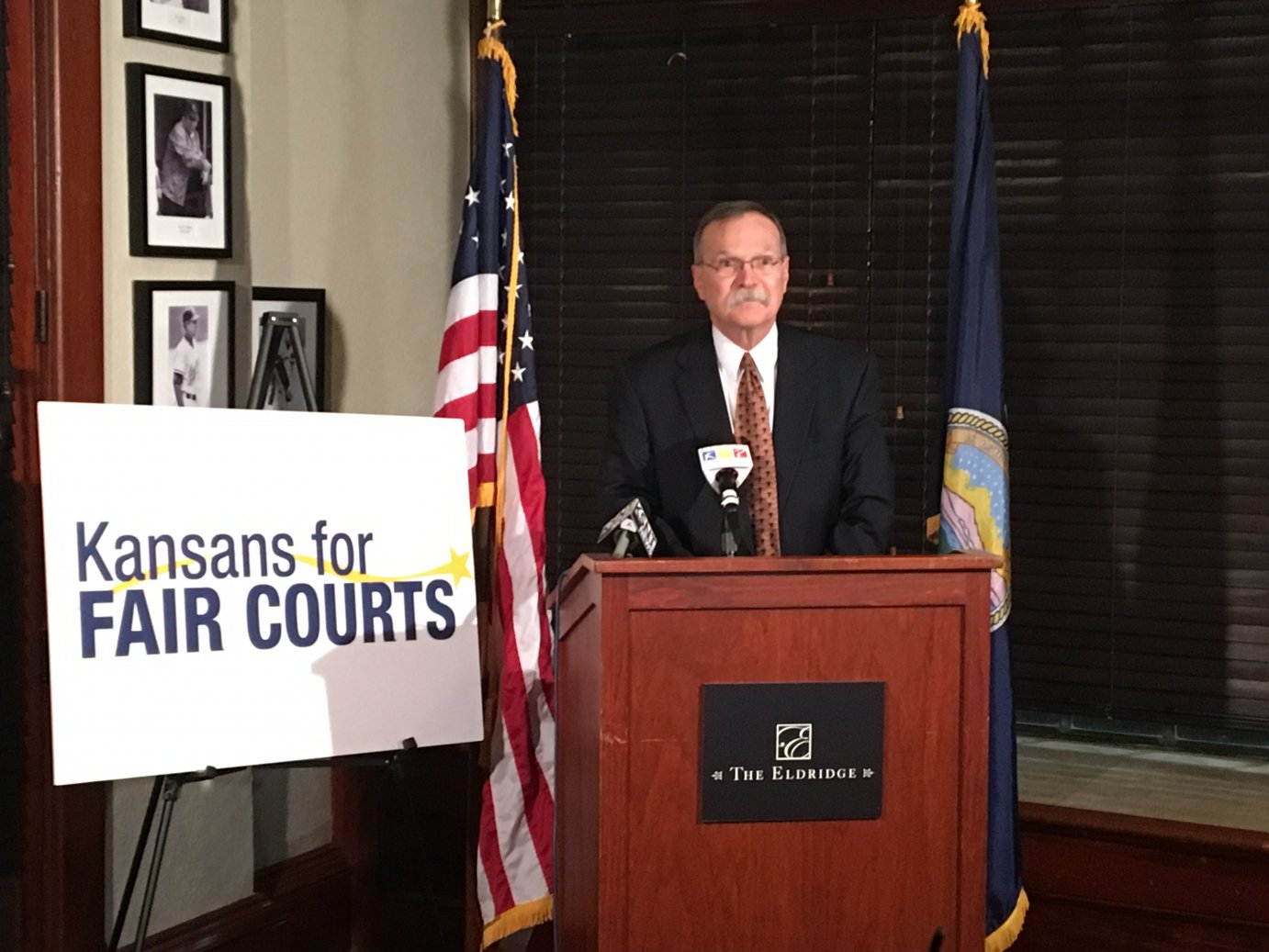 Kansas Supreme Court Chief Justice Lawton Nuss spoke to reporters at the Eldridge Hotel in Lawrence early Wednesday morning when it became clear that all five justices had survived their retention elections.  He briefly thanked Kansas voters for their support of the state's highest court.
