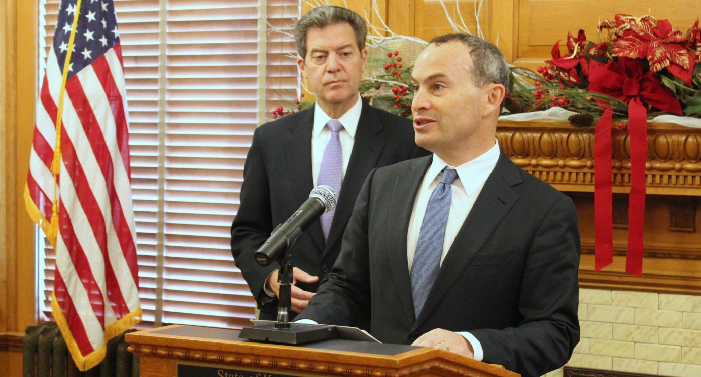 Evan Marwell, with EducationSuperHighway, speaks at an event with Governor Sam Brownback. (Photo by Stephen Koranda)