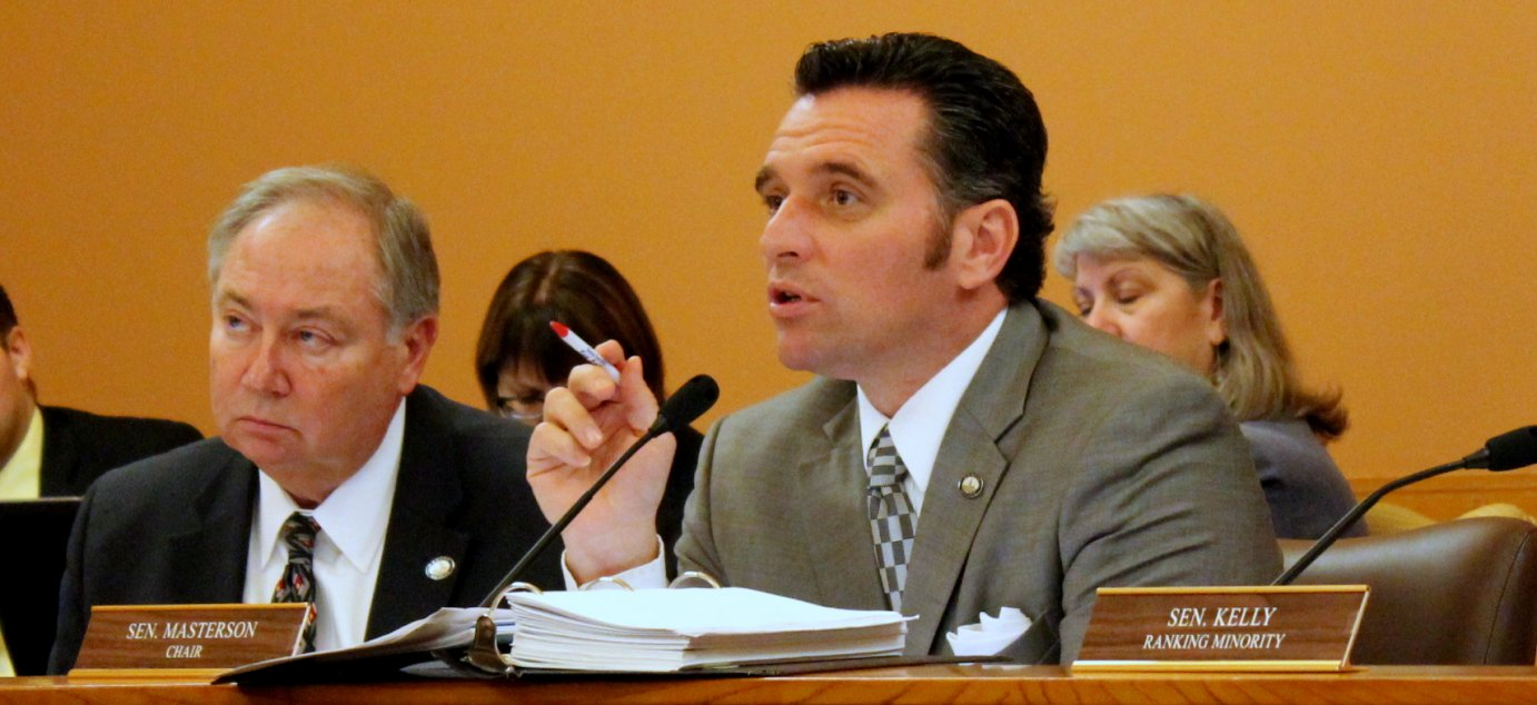 Senator Ty Masterson speaking at a committee meeting this year. (Photo by Stephen Koranda)