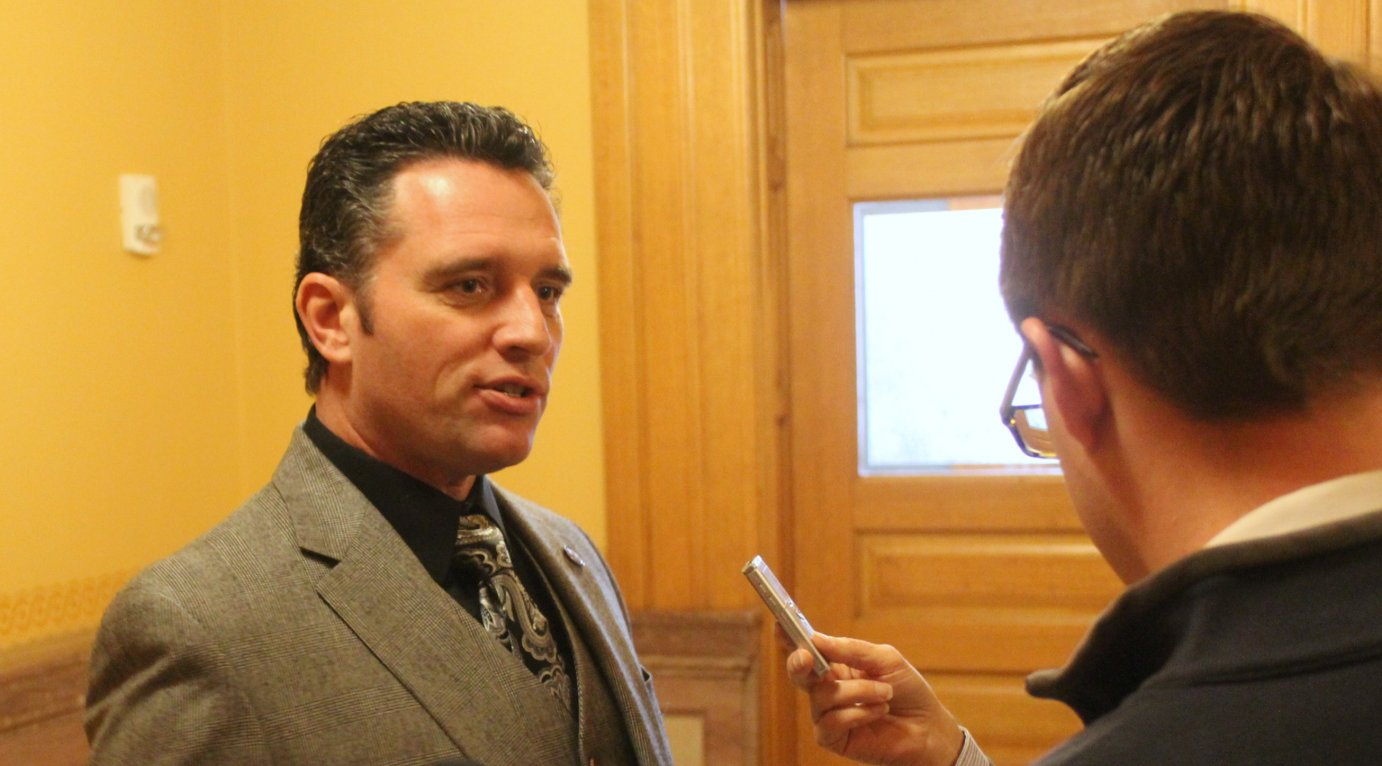 Senator Ty Masterson speaking to reporters last year. (Photo by Jim McLean)