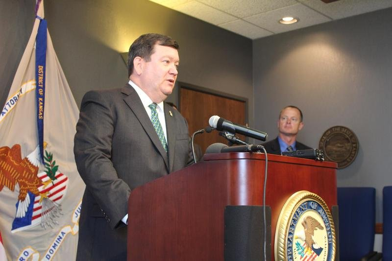 U.S. Attorney for Kansas Stephen McAllister announcing the indictments at a news conference in Wichita.  (Photo by Hugo Phan / KMUW Radio)