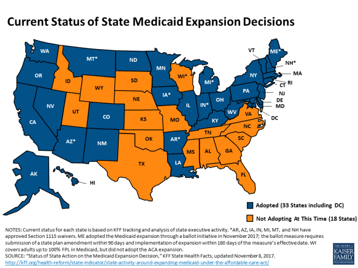 2017 Status of State Medicaid Expansion Decisions (map via Henry J. Kaiser Family Foundation at KFF.org)