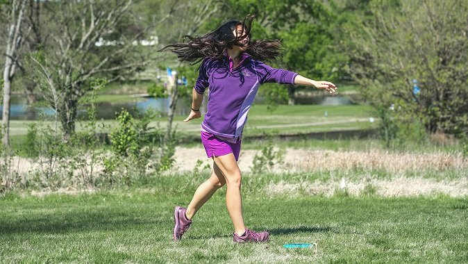 Paige Bjeerkaas, a 22-year old disc golf pro who lives in Emporia, was the 2018 world disc golf champion. At this year's Glass Blown Open, she finished in 6th place. (Photo by Jacob Torkelson, Dynamic Discs)