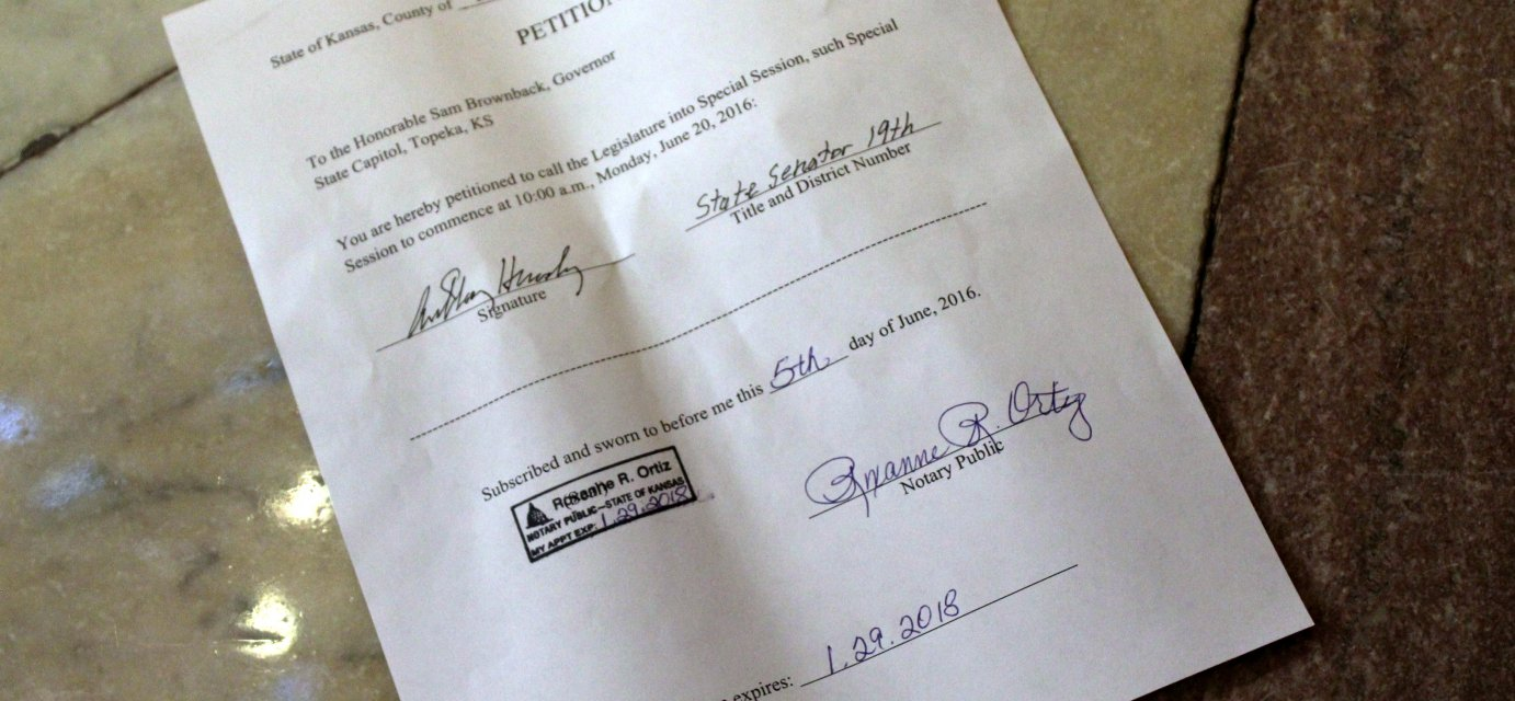 The petition from Senator Anthony Hensley. (Photo by Stephen Koranda)