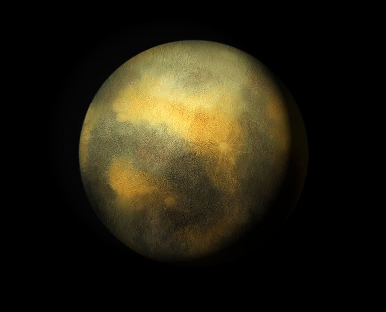 This is an artist's conception of Pluto.  NASA's New Horizons spacecraft will soon provide actual photographs of Pluto, taken from the closest vantage point of any NASA camera.