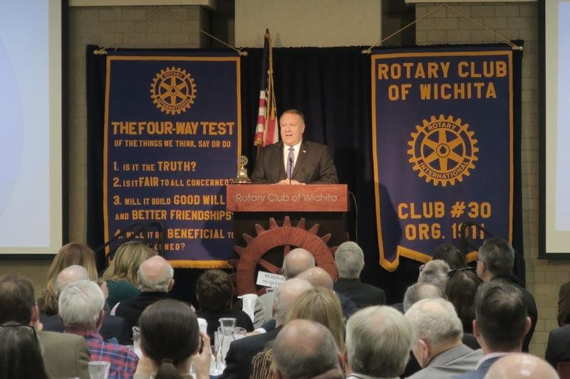 Mike Pompeo addressing the Rotary Club of Wichita (photo credit: Deborah Shaar, KMUW)