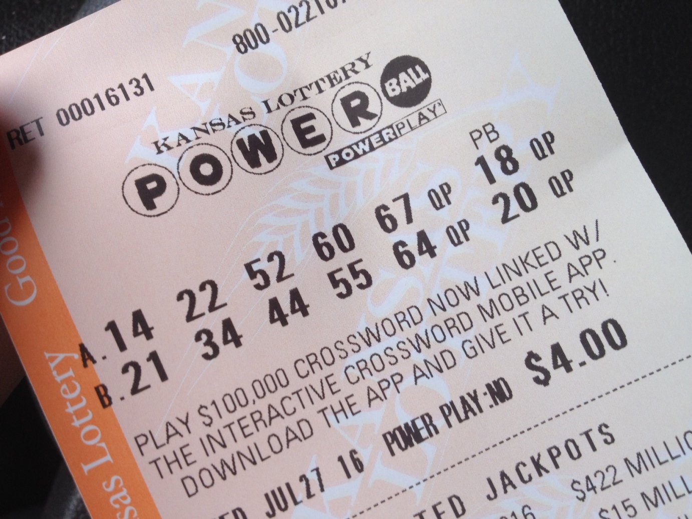 Two sets of lottery numbers for Wednesday night's Powerball jackpot drawing. (Photo by J. Schafer)
