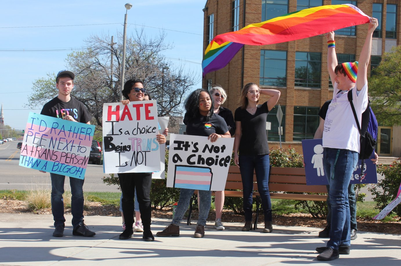 Students protesting at the Kansas Statehouse. (Photo by Stephen Koranda)