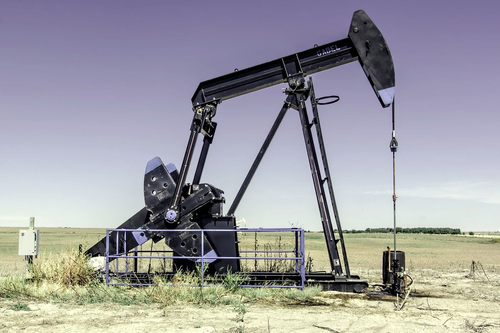 (Photo by Vincent Parsons, flickr, who writes this is a pumpjack, near Susank in Barton County, Kansas)