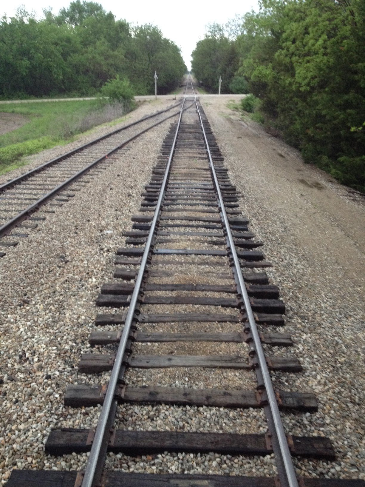 Typical railroad tracks in Kansas; these are located near Baldwin City. (Photo by J. Schafer)
