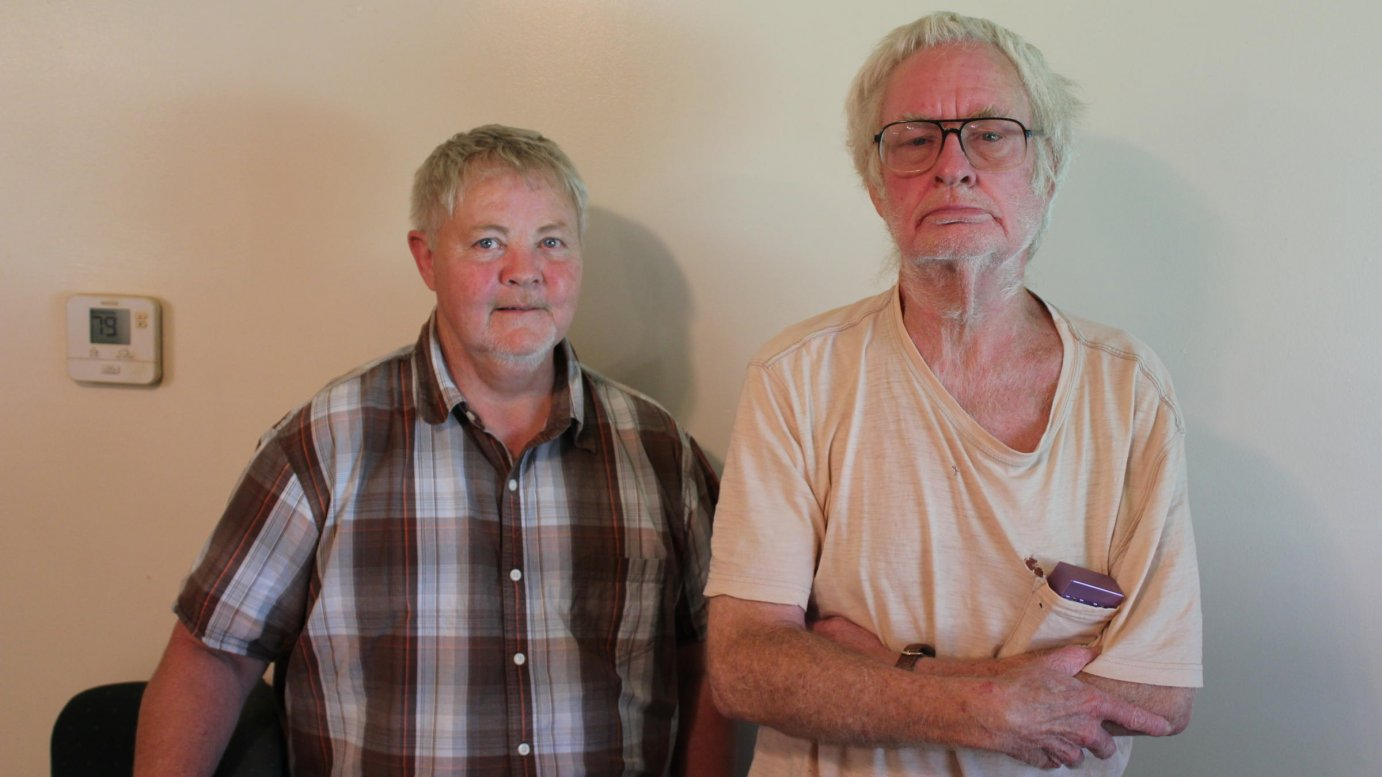 Dennis Ritchey, right, and Kip Elliot, an attorney who helped Ritchey find his way out of a mental health nursing home. (Photo by Stephen Koranda)