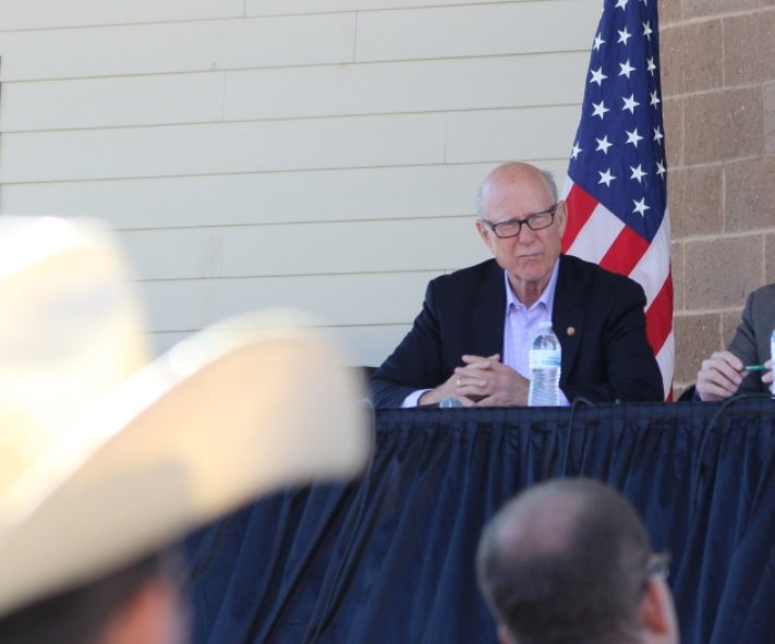 U.S. Senator Pat Roberts discusses the Trans-Pacific Partnership at the Kansas State Fair. (Photo: Nadya Faulx, KMUW)