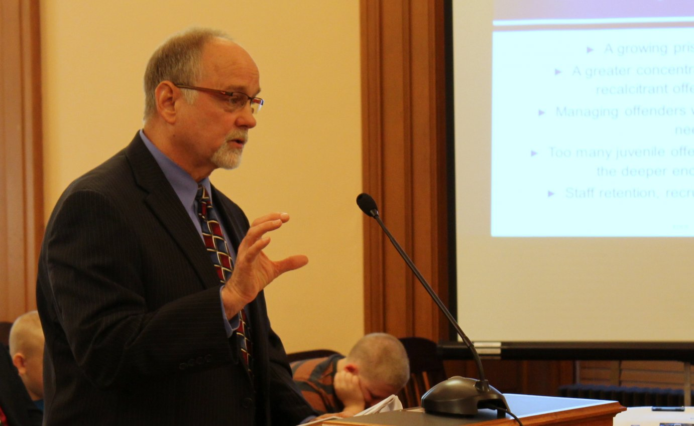 Roberts speaking at a committee meeting at the Kansas Statehouse. (Photo by Stephen Koranda)