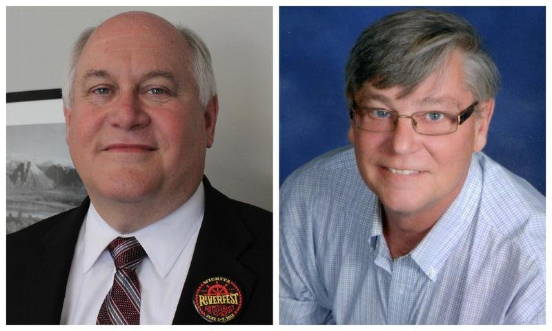 """U.S. Rep. Ron Estes, left, will be identifed with a """"Rep."""" before his name on primary ballots against the other Ron Estes he faces in the race. (Kansas News Service file photo)"""