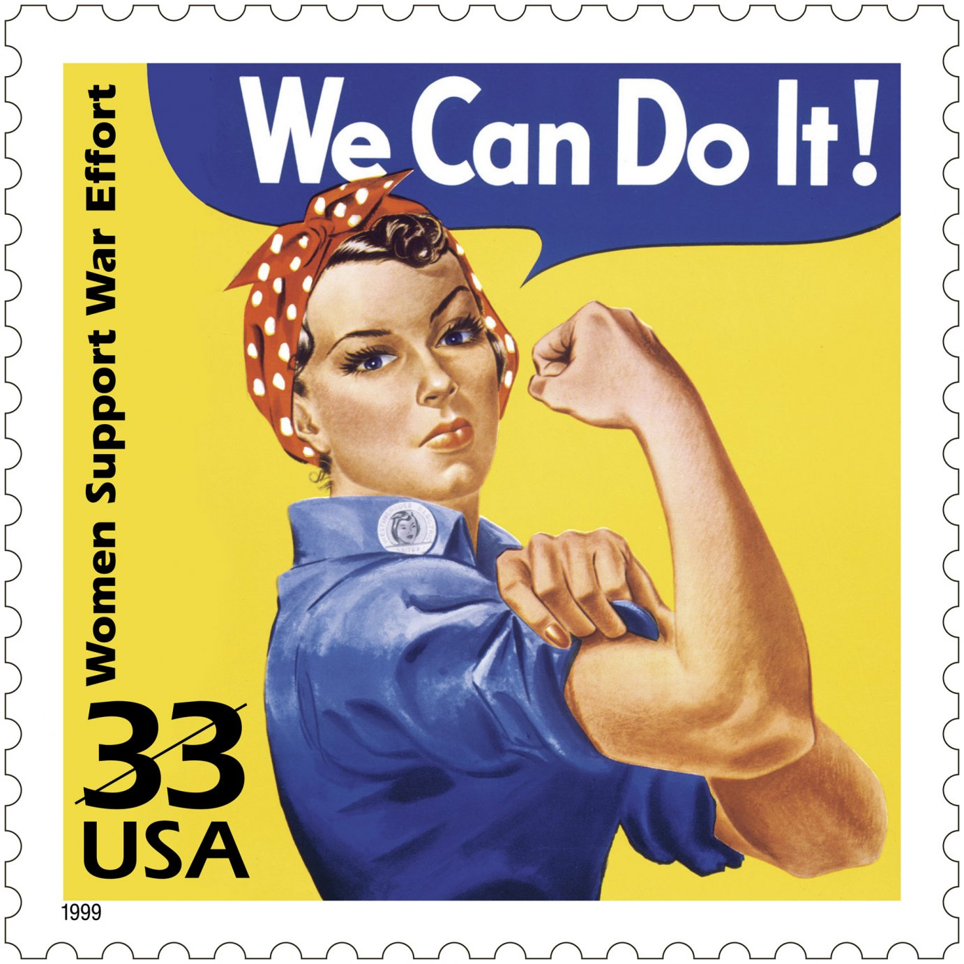 """U.S. stamp depicting """"Rosie the Riveter,"""" a symbol of the female workforce during World War II."""