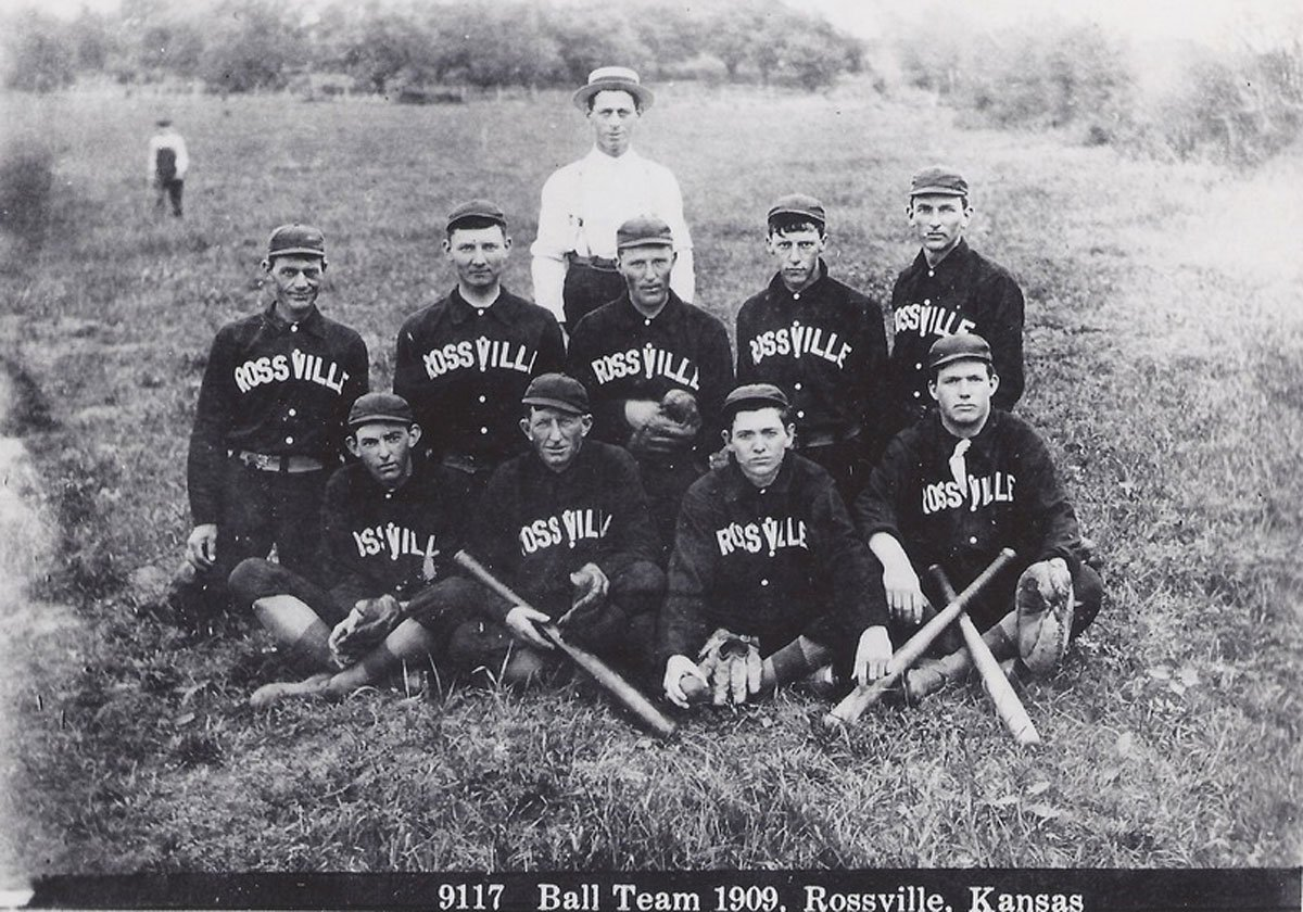 """The 1909 Rossville baseball team managed by I.B. Wilt. Back row players, left to right, are """"Frog"""" Baird, Frank or Melvin Hartzell, Cy Higginbotham, Jack Parr, and Guy Berkey. Front row players, left to right, are Charles Berkey, Pete Cless, Fred Hook, and Clarence McPherson.(Photo Courtesy of kansasmemory.org/Kansas Historical Society)"""