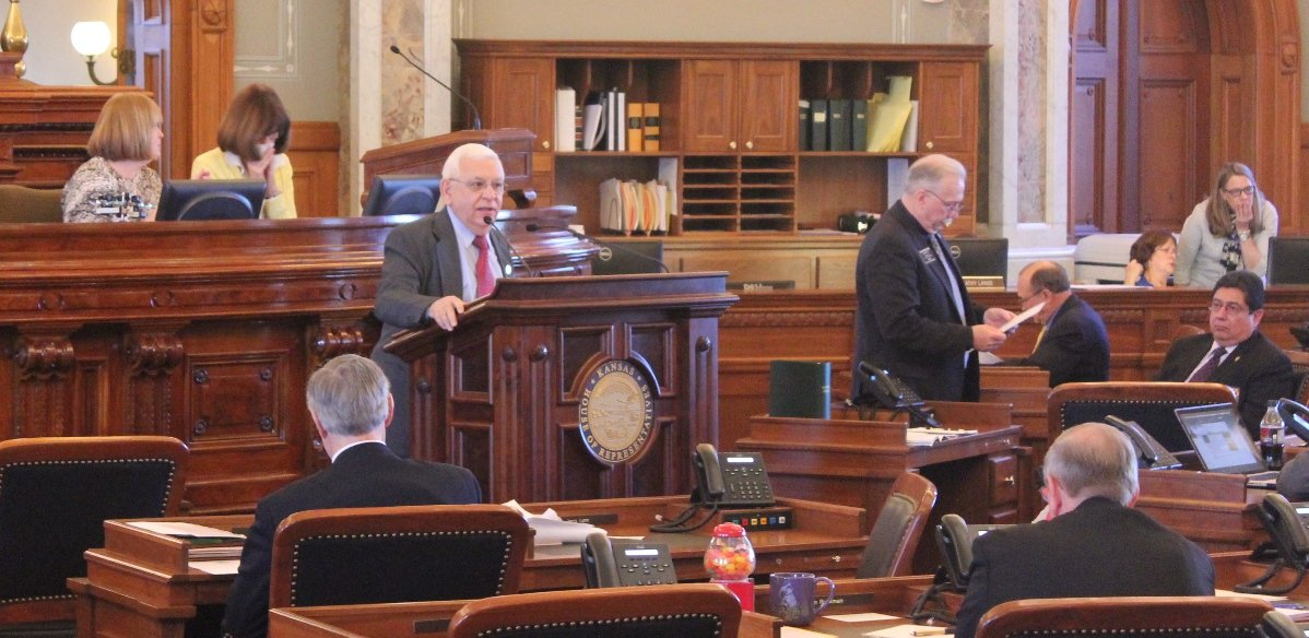 Rep. John Rubin presents his proposal before the Kansas House. (Photo by Stephen Koranda)